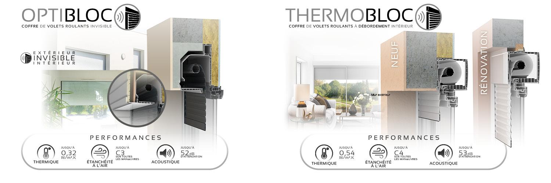 Schémas techniques des coffres de volets roulants Thermobloc et Optibloc